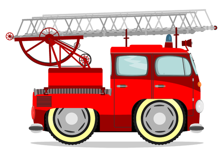 Funny firetruck. Vector illustration without gradients on one layer. Vettoriali