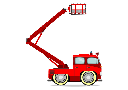 Funny firetruck. Vector illustration without gradients on one layer. Illustration