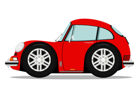 Funny old sports car. Vector without gradients on one layer. Vector