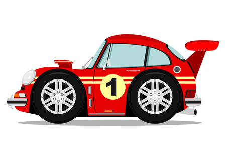 Funny old sports car. Vector without gradients on one layer.