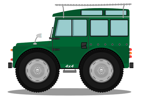Funny offroad car. Vector illustration without gradients on one layer.