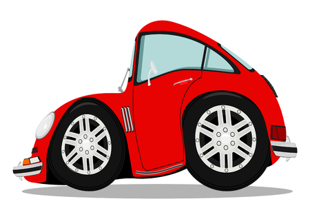 Funny sports car after heavy braking illustration without gradients.