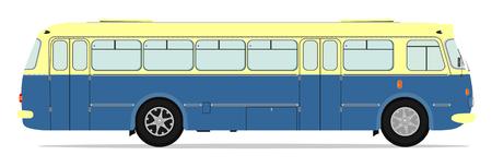 Retro bus illustration zonder hellingen op één laag.