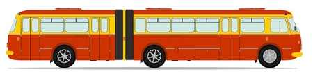 Retro bus illustration without gradients on one layer. Vector