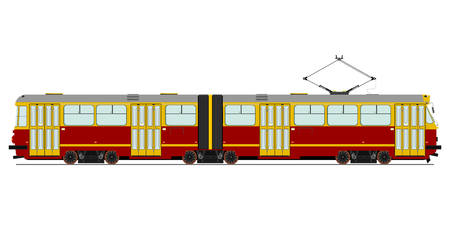 Vintage tram illustration without gradients on one layer. 向量圖像