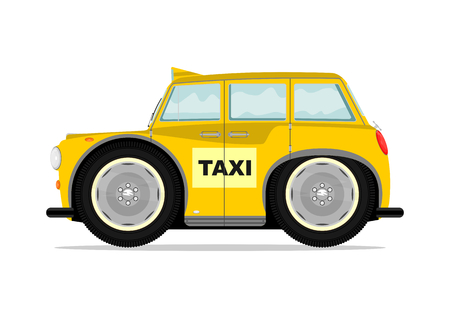 Funny old taxi. Vector illustration without gradients on one layer. Vector