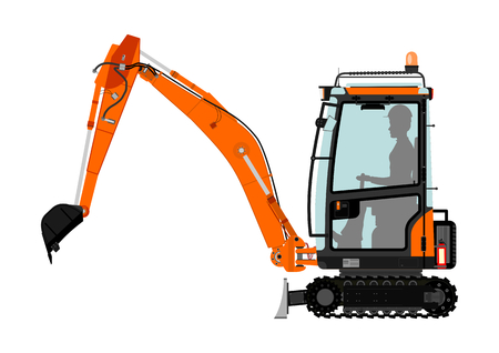 Compact excavator. Vector illustration without gradients on one layer. Stock Illustratie