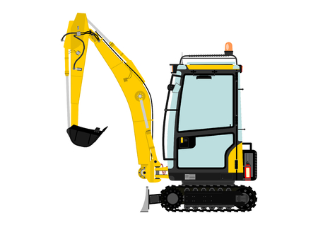 Compact excavator. Vector illustration without gradients on one layer. Ilustração
