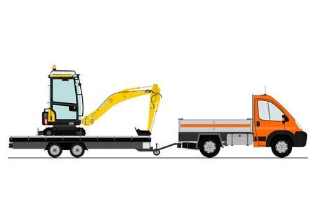 Un pequeño camión con una excavadora en el remolque Foto de archivo - 33337161