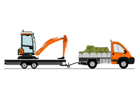 A small truck with an excavator on the trailer