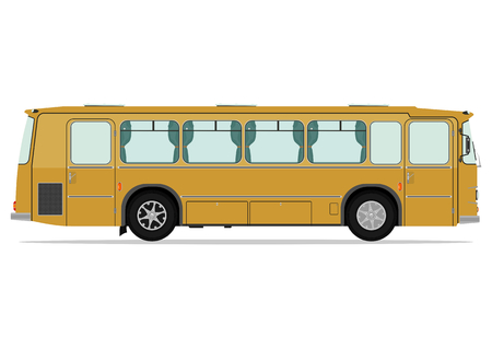 Vintage bus. Vector illustration without gradients on one layer. Vector
