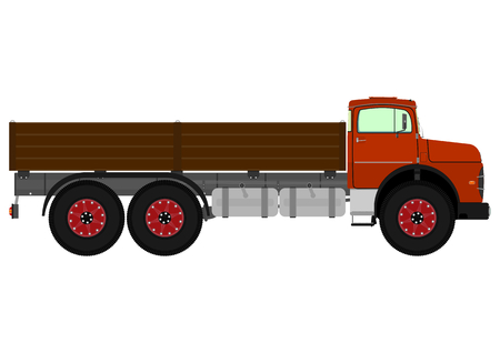Old truck. Vector illustration without gradients on one layer.