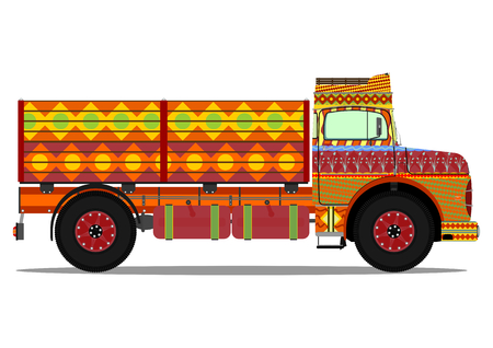 The old jingle truck. Vector illustration without gradients on one layer. Vettoriali