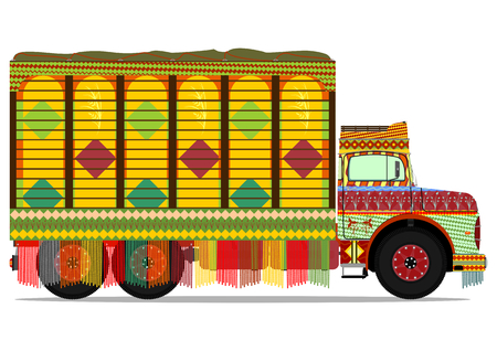 truck on highway: The old jingle truck. Vector illustration without gradients on one layer. Illustration