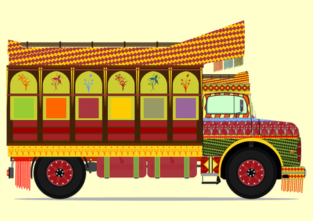The old jingle truck. Vector illustration without gradients on one layer. Ilustracja