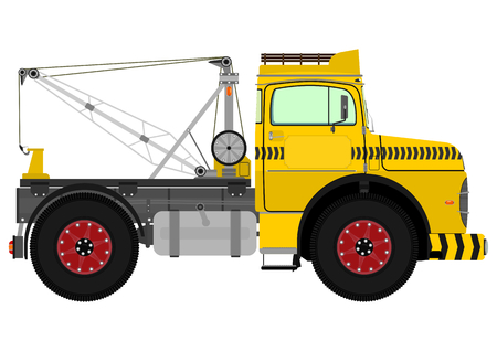 Cartoon tow truck. Vector illustration without gradients on one layer. Vector