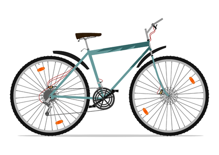 mtb: Cartoon Mountainbike. Vector illustration ohne Steigungen auf einer Ebene.