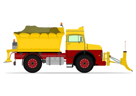 Vintage snowplow. Vector illustration without gradients on one layer. Vettoriali