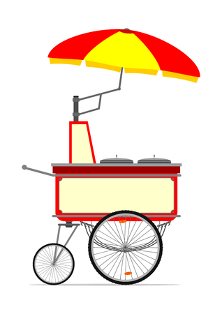 Cartoon hot dog cart. Vector illustration without gradients on one layer.