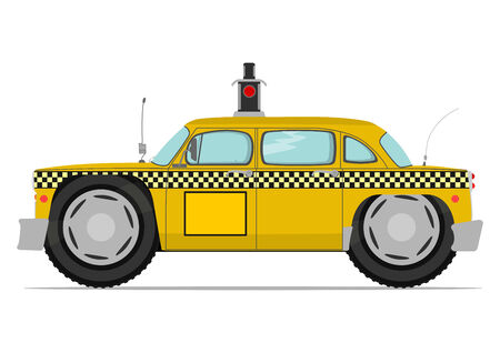 Funny yellow cab. Vector illustration without gradients on one layer. Vector