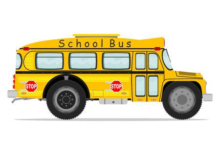 autobus escolar: Autob�s escolar divertido. Ilustraci�n vectorial sin gradientes en una sola capa.