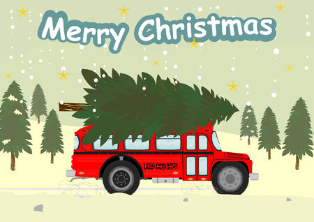 christmas tree: Funny old bus with a Christmas tree on the roof. Vector illustration without gradients on one layer. Illustration