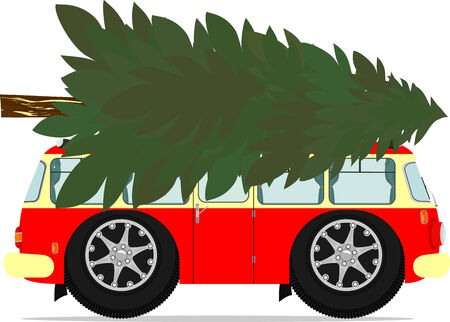 Funny old bus with a Christmas tree on the roof. Vector illustration without gradients on one layer. Illustration