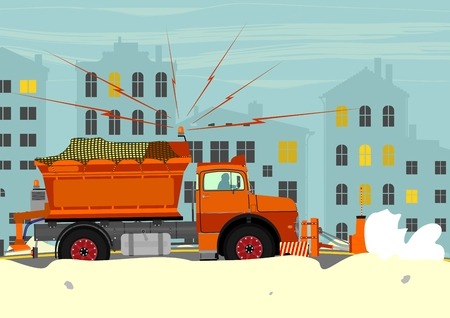 Snowplough during operation. Vector illustration without gradients on one layer.