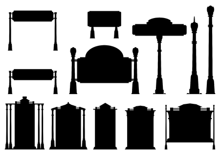 Silhouettes of old road signs. Vector illustration without gradients on one layer.