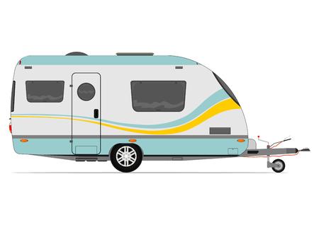 remolque: Caravana moderna. Vector sin gradientes en una sola capa.
