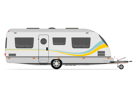 Modern caravan. Vector without gradients on one layer. Vector