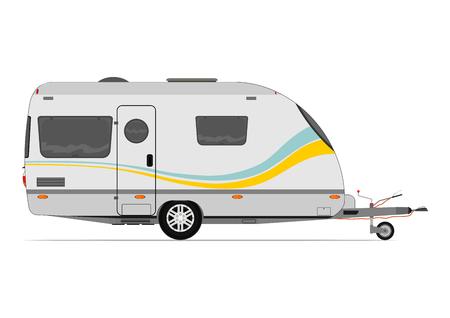 Caravana moderna. Vector sin gradientes en una sola capa. Foto de archivo - 35115033