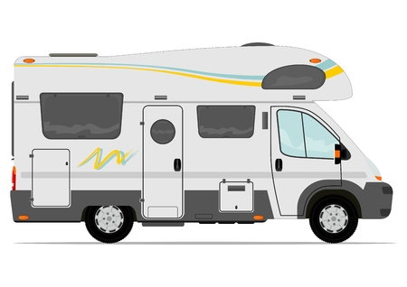 Modern camper van. Vector. Without the gradient, in a single layer.