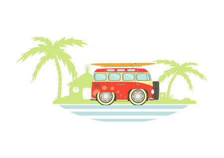 Funny old camper with holiday theme. Vector Vector