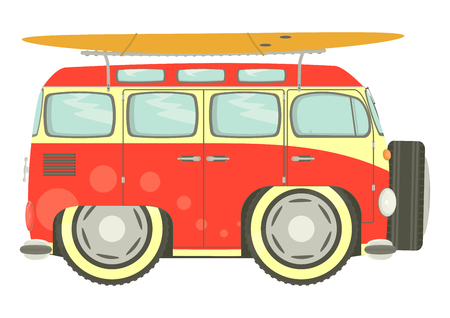 combi: Funny old camper with holiday theme. Vector