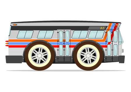 motor coach: Funny old American bus. Vector without gradients on one layer.
