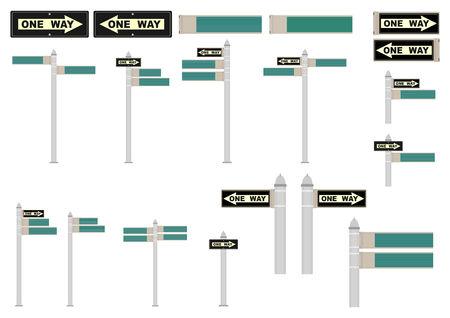 ニューヨークのストリート標識。任意のテキストのためのスペース。グラデーションなしのベクトル図です。  イラスト・ベクター素材