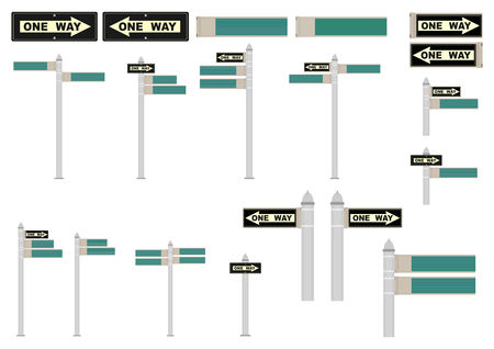 New York street signs. Space for any text. Vector illustration without gradients. Vettoriali