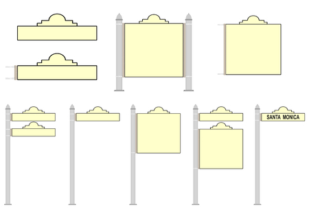 Set of blank street signs on a white background. Vector Vector