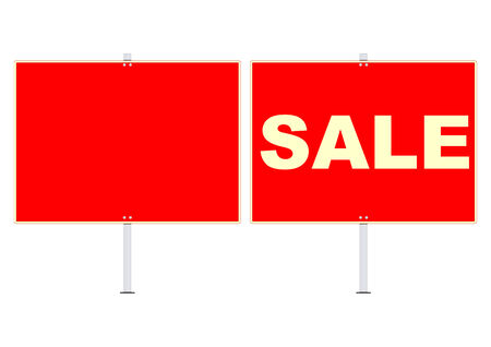 singpost: Sale red signs. Plenty of space for any text. Vector