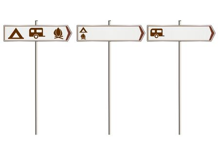 campsite: Illustration of the campsite road sign. Raster.