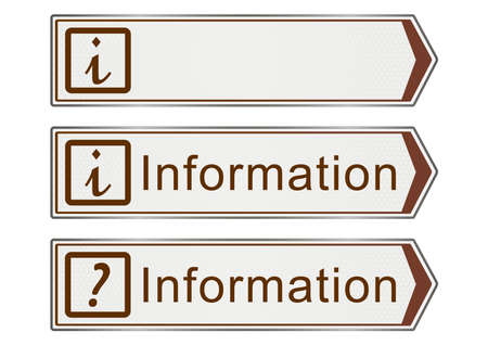 Information. Road signs on a white background. Raster photo