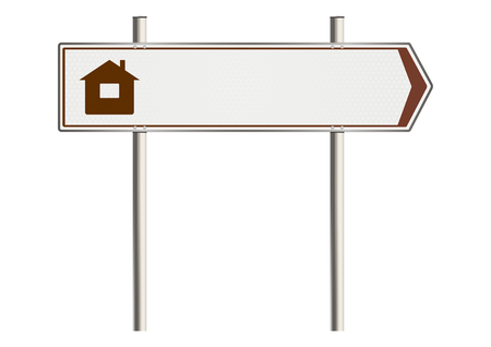 ownership: Home Insurance. Road sign on a white background. Raster
