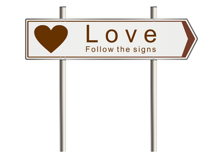 Love. Signpost on a white background. Raster photo