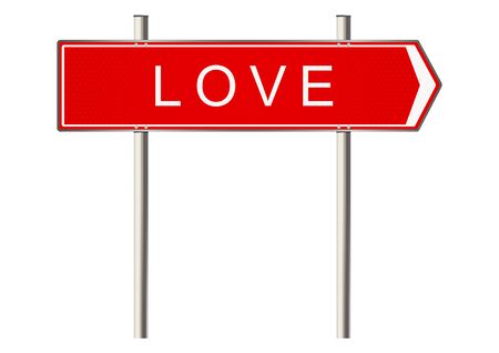 highway love: Love. Signpost on a white background. Raster Stock Photo