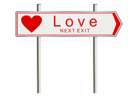 need direction: Love. Signpost on a white background. Raster Stock Photo