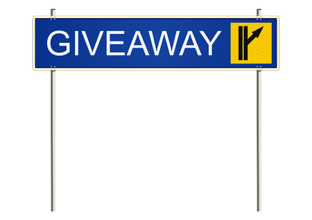 guidepost: Giveaway. Traffic sign on a white background. Raster. Stock Photo
