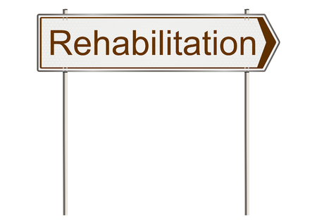 rehab: Rehabilitation. Traffic sign on a white background. Raster. Stock Photo