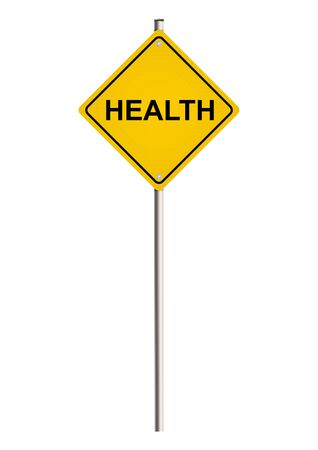 Health. Yellow road sign. Raster. photo