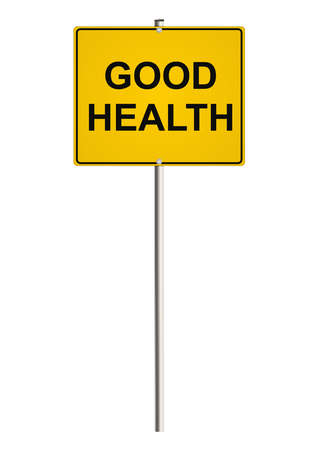 good health: Health. Yellow road sign. Raster. Stock Photo